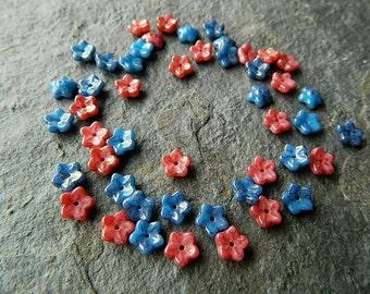 Carrot & Blue Flower Bead Mix, Czech Glass Daisy Beads,  (50pcs) NEW