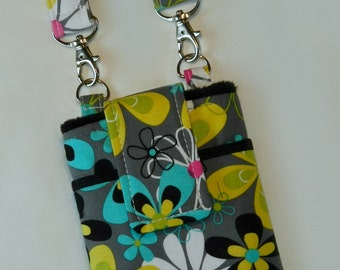 Floral Phone Case with Wristlet and Optional Cross Body Shoulder Strap - Black Gray Pink Aqua Yellow - Mae to Order