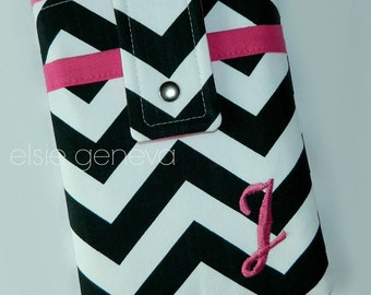 Personalized Choose Any Fabric in My Shop or Black and White Chevron with Pink Accents eReader Kindle Nook Cover Sleeve Case