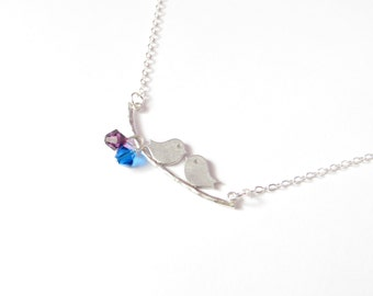 Personalized Birthstone Necklace Lovebirds In Silver  - Custom Swarovski Crystals - Couples Necklace - Valentines Day Gift