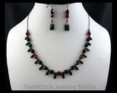 Black, Oxblood Red, Dagger Necklace, Dangle Earring, Czech Glass, Oxidized, 925 Sterling Silver, Two Piece Set, Adjustable, Faceted, Jewelry