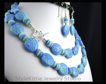 Light Blue and Mint Czech Glass, Long Layered Necklace, Dangle Earrings, 925 Sterling Silver, Opalescent, Matte, Limited Edition, Jewelry