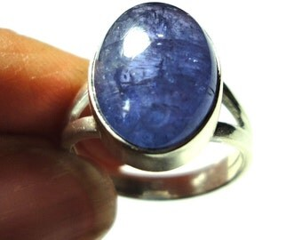 Tanzanite Ring Natural Violet Tanzanite Cabochon Ring in Solid Sterling Silver Size 6