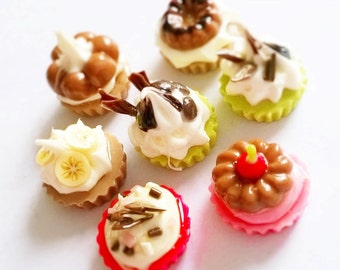 Miniature Polymer Clay Cupcake Supplies for Dollhouse, set of 7 pieces