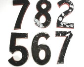 """Vintage Theatre Sign Numbers Cast Aluminum Industrial Number Salvage 8"""" Chippy Black & Red Pick Your Collectible Movie Theater Sign Number"""