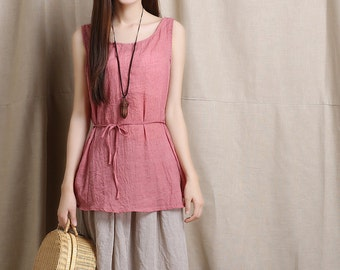 Casual Linen Blouse Top Tank in Red - QW7901