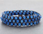 Light Blue Triple Wrap Unisex Bracelet Anklet