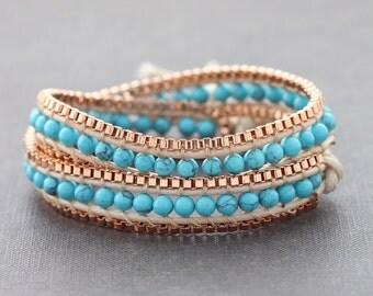 Turquoise Copper Double Wrap Bracelet