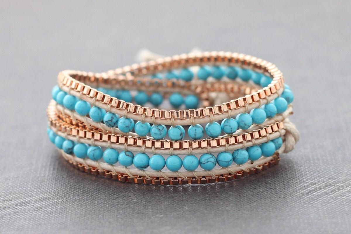 turquoise copper wrap bracelet
