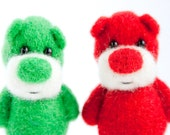 Special offer - two needle felted artist bears red and green