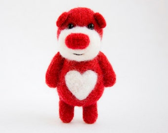 Red felted Valentine bear with a white heart