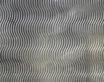 Nickel Silver Textured Metal Sheet Waves Pattern 20g - 6  x 2 1/4 inches - Bracelets Pendants Metalwork