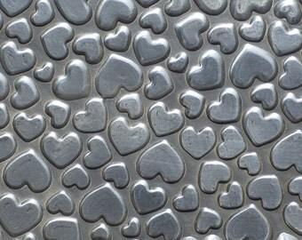Nickel Silver Texture Metal Sheet Hearts Galore Pattern 20g - 6 1/8 x 2 3/8 inches - Hammering Sheet Metalwork