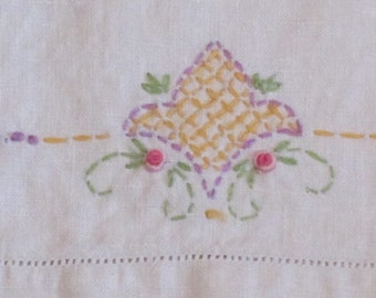 Vintage Pale Beige Linen Tea Towel with Hand Embroidered Design in Gold, Purple and Green