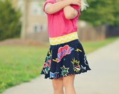 Take 5 Circle Skirt PDF Sewing Pattern, inc. sizes 6 months-14 years, Girls Knit Skirt Pattern, Upcycle Tee Shirt Pattern Game Day Skirt