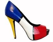 Mondrian inspired leather peeptoes