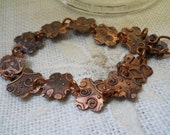Embossed Copper Flowers Bracelet