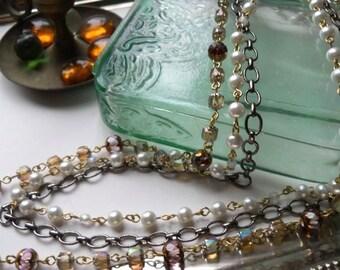 Modern Meets Vintage Multi Strand Long Necklace