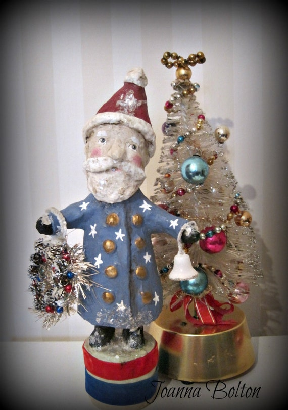 Santa Claus- Americana- paper mache-  folk art doll-hand made doll- Christmas- Santa
