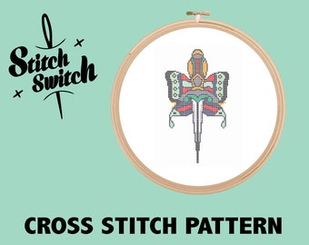DIY Tattoo Themed Butterfly Dagger Cross Stitch Pattern PDF