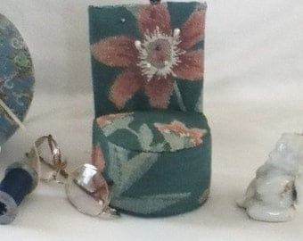 pin cushion handmade  my own design  green  one of a kind weighted bottom fancy pins flowers