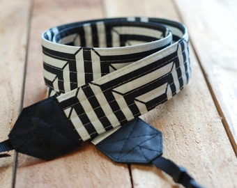 Black Optical SLR Camera Strap with Leather Ends- Free Shipping