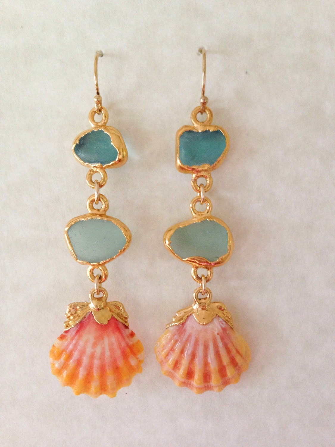 Gold Dipped Sea Glass And Sunrise Shell Mermaid Earrings