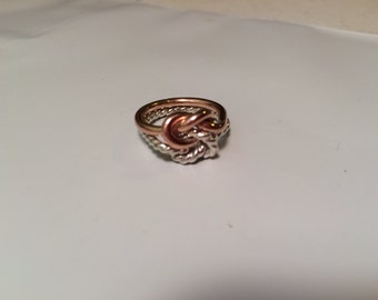 Rose gold knot ring, silver twist, gold, rose gold, 16g knot ring,men, women, wedding, engagement