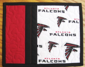 Mug Rug Quilted NFL Atlanta Falcons Handmade Cotton Fabric Patchwork Snack Trivet Gift Idea For Her For Him Friendship Gift 2 Set