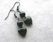 Golden Obsidian Heart Earrings -Fancy Black- Black Obsidian, Bronze Crystal, Blackened Brass