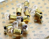 Set of 100 Mini Lightbulbs with Round Glass Bulb - VINTAGE