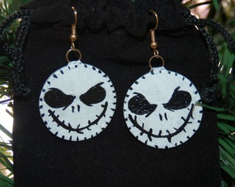 Nightmare Before Christmas Jack Skellington Earrings Handmade Glass and Copper