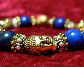 "Medicine Buddha Bracelet, lapis and picture jasper, for guidance and healing, fits 6 1/2"" wrist"