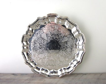 Round Silver Plate Footed Tray Leonard