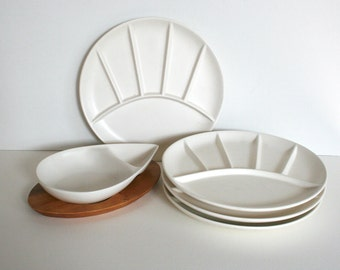 Set of mid century fondue plates. Dishes, serving dish, bowl, divided, white, matte, minimal, wood tray.