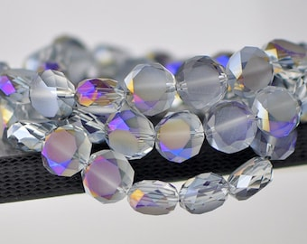 Crystal Rondelle Frosted Faceted Glass Coin beads 12mm Matte Purple-(MB12-2) /48pcs
