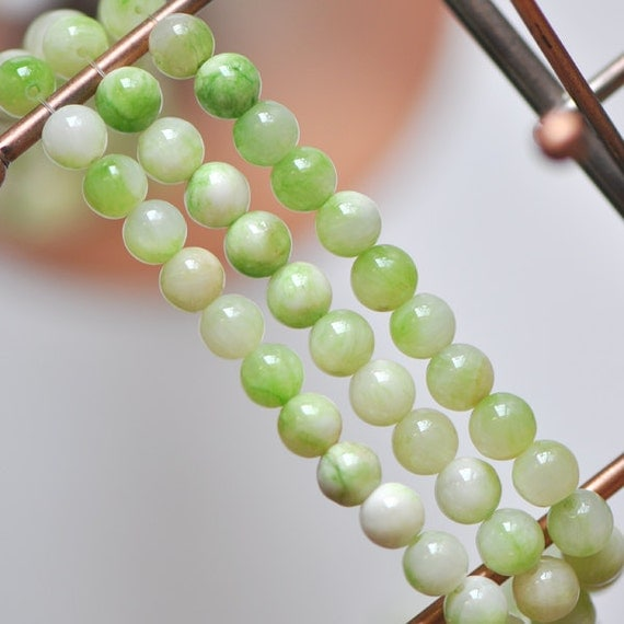 Candy Jade 8mm Round Smooth Stone Beads Green White -(HY02-9)/ 48pcs