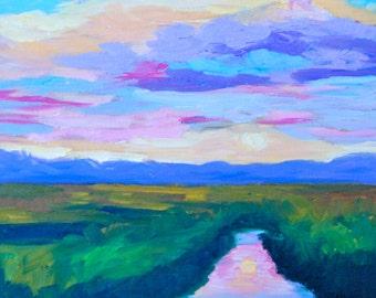 Original Oil Painting 12 x 12 Fine Art Impressionist Landscape Sky Sunset by Rebecca Croft