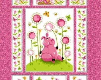 "FLIP The Pig ~ 100% Cotton Fabric Quilt Panel ~1 panel ~ 35"" x 43"" ~  by Susybee  OUT of PRINT and Hard to Find"