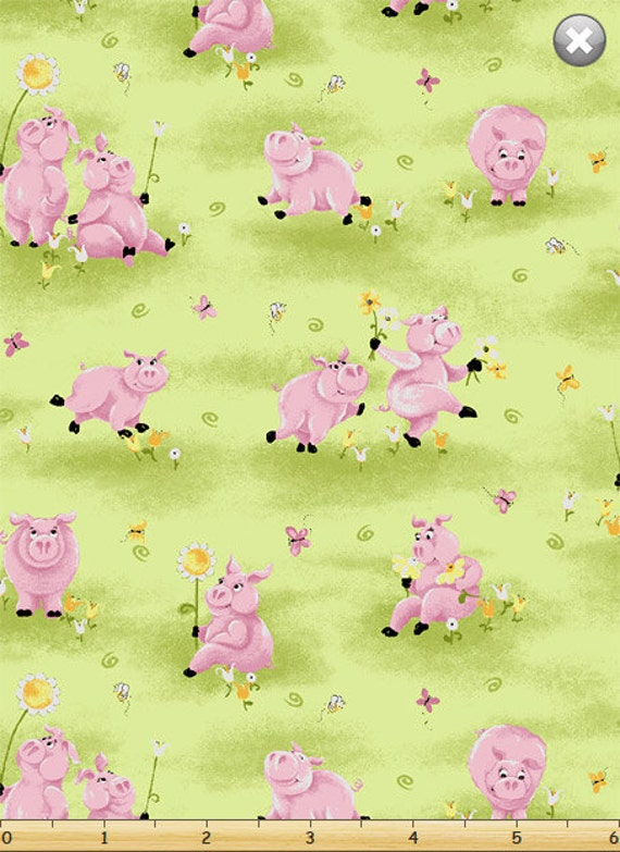 Flannel Pigs In Flowers Flip The Pig 100 Cotton Flannel