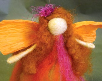 Needle Felted Standing Waldorf Fall Fairy with soft skirt and wild, vibrant colors