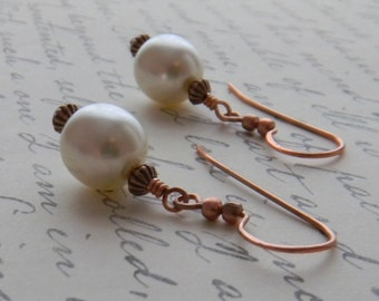 White Pearl Earrings, Copper Earrings, Rustic earrings, Large Pearl Earrings, Earthy, Wedding, Bridal, Bridesmaid, Fashion Jewelry