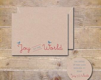 Christmas Cards, Holiday Cards, Happy Holidays, Joy To The World, Christmas Card Sets, Handmade, Birds, Rustic