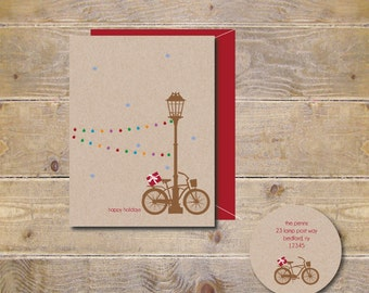 Bikes, Rustic Christmas Cards, Christmas Cards, Holiday Cards, Christmas Card Set, Holiday Card Set, Lamp Post, Bikes, Christmas Lights