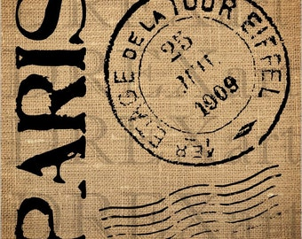PARIS POSTMARK Elements - French STENCIL - for Burlap Pillows / Wood Signs - 12 x 12 - 7 mil Mylar
