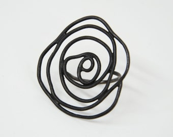 black sterling silver ring - black rose ring -  statement ring- platinum plated