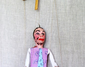 Puppet , Marionette , Cantinflas , Mexican Doll , Mexican Toy , Mexico , Vintage Mexican Puppet , Doll , Souvenir Doll , Vintage Child