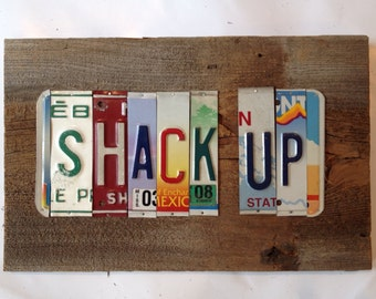 SHACK UP license plate sign tomboyART art recycled upcycled pig Clarksdale blues BBQ cold beer