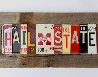 SOLD Mississippi State BULLDoGS HAIL STATE dawgs dawgz  recycled license plate art sign tomboyART Made in America Starkvegas