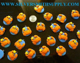 Crab charms 24 pcs made from fimo clay with loop make earrings, necklaces GBS025